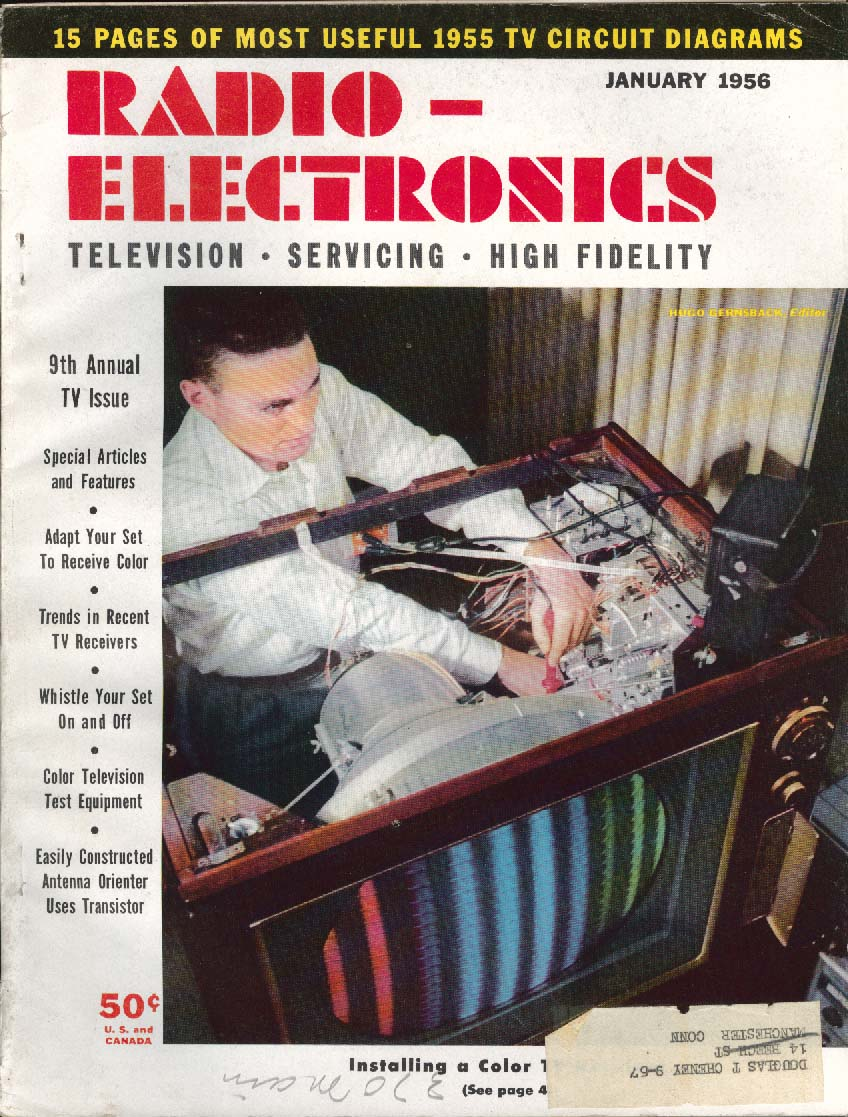 RADIO ELECTRONICS 9th TV ish. Color Installation 1 1956