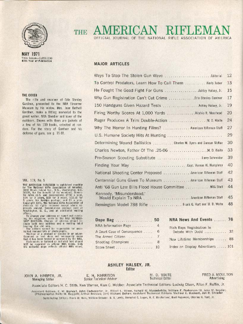 AMERICAN RIFLEMAN Erle Stanley Gardner Perry Mason Guns Charles Newton 5 1971