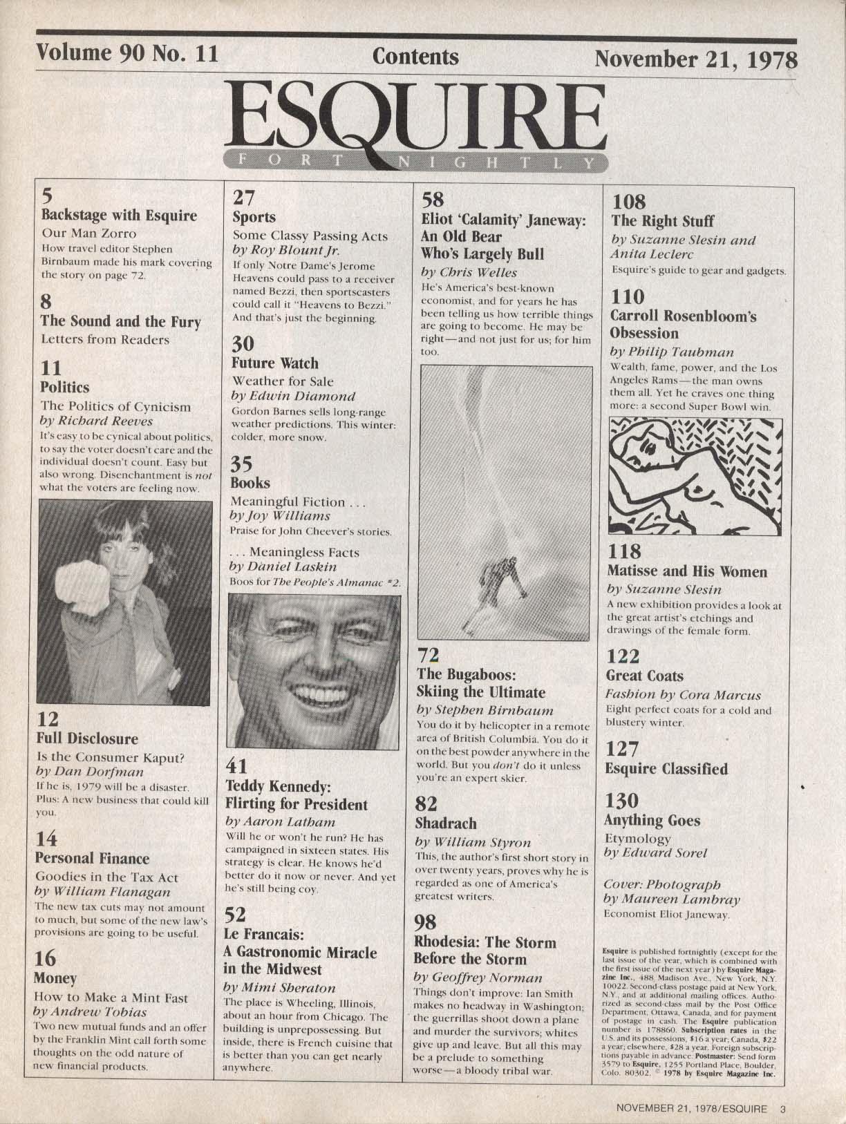ESQUIRE Eliot Janeway Teddy Kennedy 11/21 1978