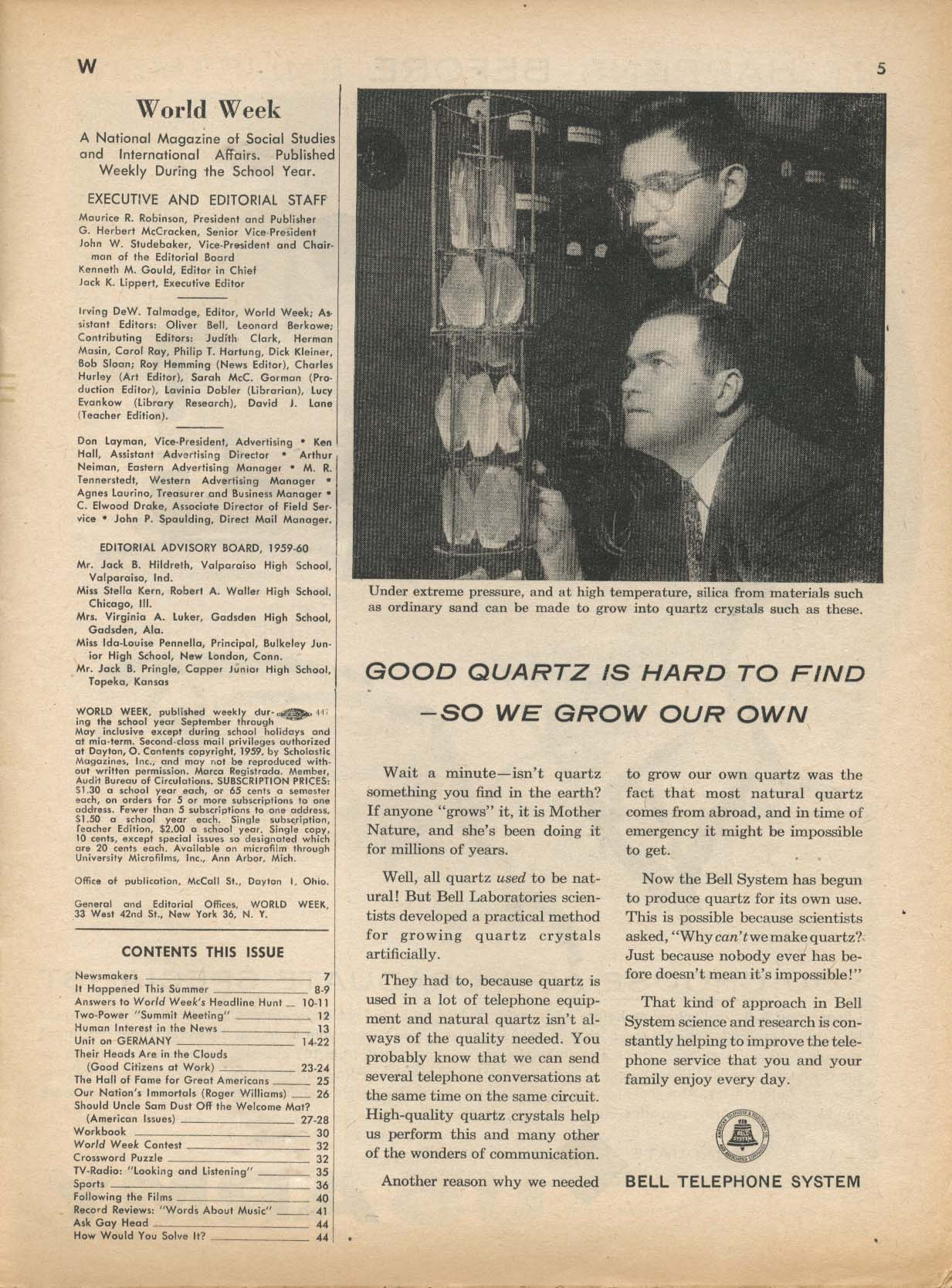 WORLD WEEK Konrad Adenauer Germany unit 9/16 1959