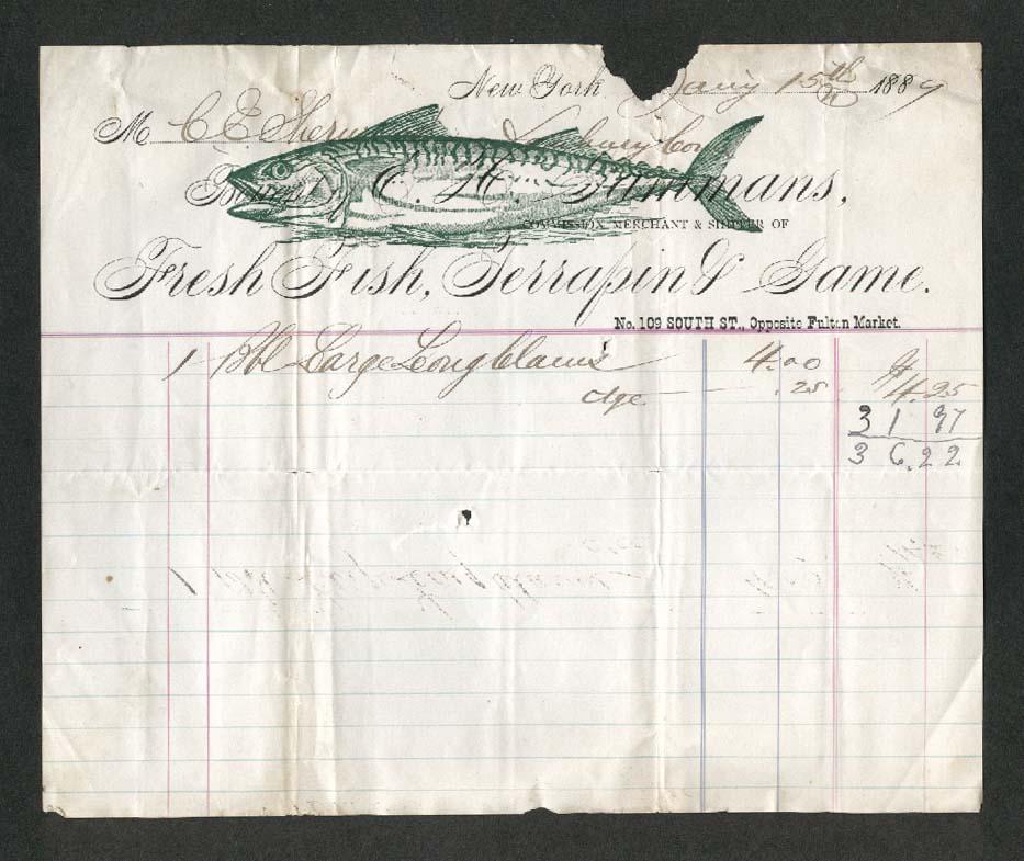 E H Gammans Fresh Fish New York billhead 1889