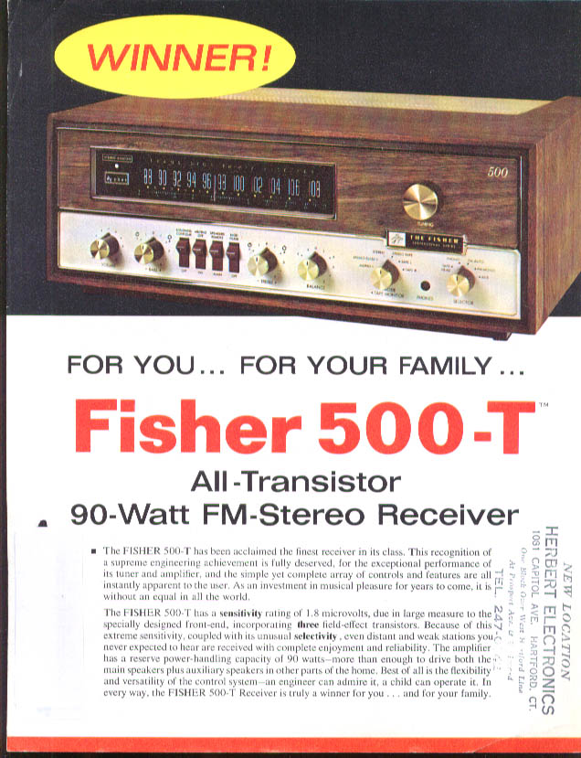 Fisher 500-T 700-T FM-Stereo Receiver folder 1960s