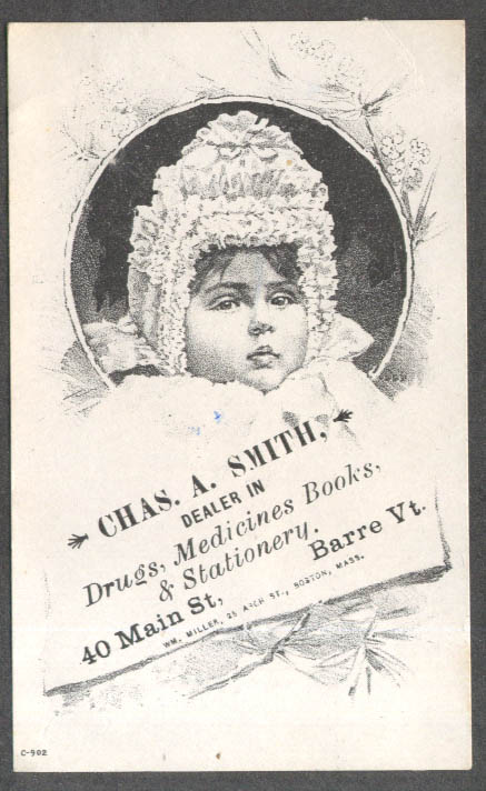 Image for Chas A Smith Drugs Barre VT trade card baby bonnet