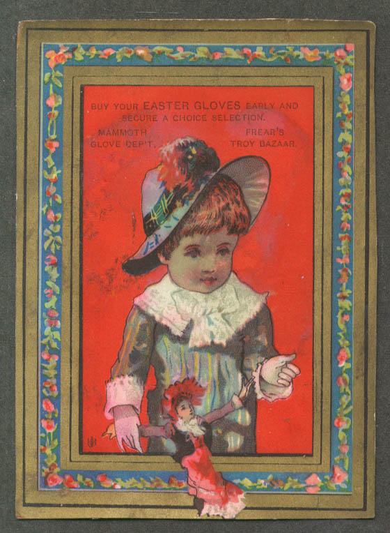 Image for Frear's Easter Gloves trade card Troy NY girl & doll