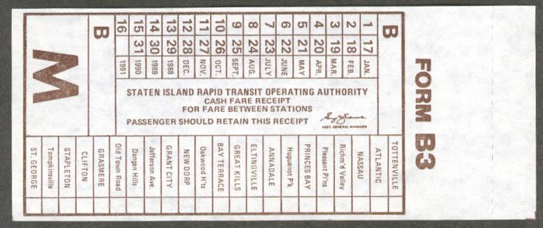 Image for Staten Island Rapid Transit Cash Fare Receipt unused