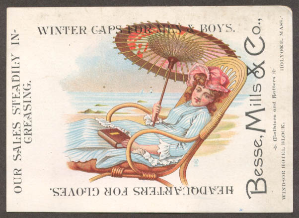 Besse Mills Gloves Caps Holyoke MA trade card parasol