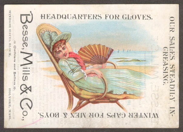Bessie Mills Gloves Caps Holyoke MA trade card girl fan