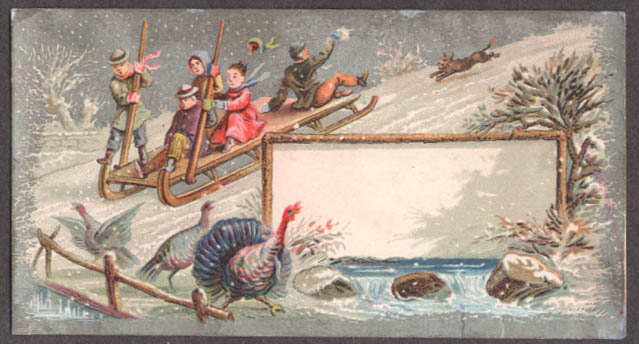 Image for Tobogganers chase turkey down hill trade card 1880s