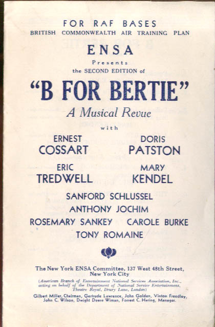 B for Bertie Revue program RAF Bases New York ENSA 1940s