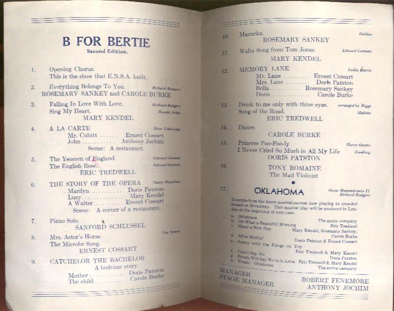B for Bertie Revue program RAF Bases New York ENSA 1940s