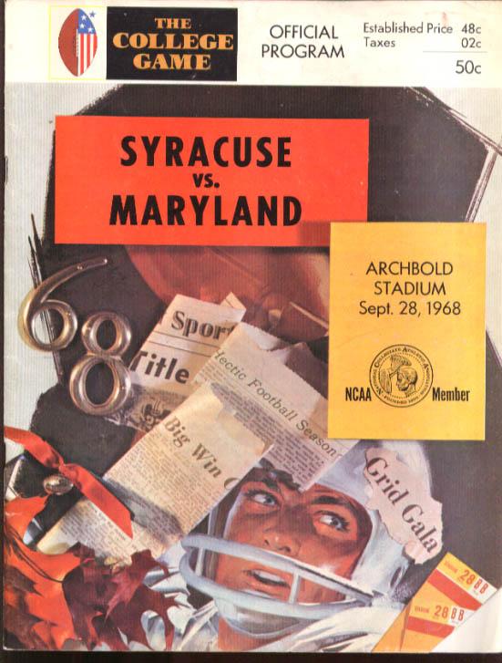 Syracuse v Maryland College Football program 1968