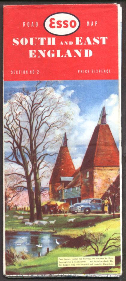 Esso Gasoline Road Map South & East England 1959