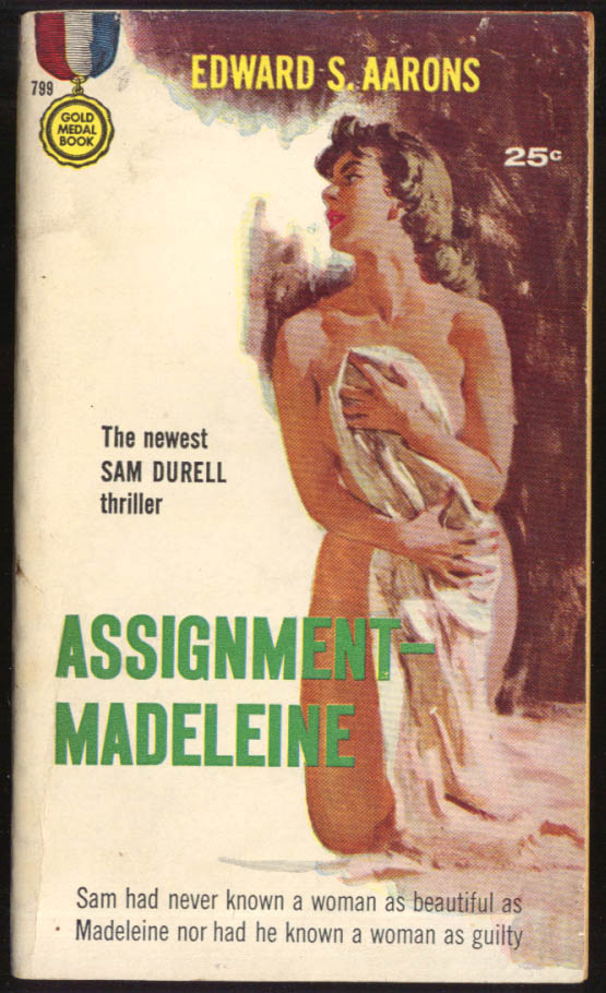 Edward S Aarons: Assignment - Madeleine GGA noir pb nude covers self with sheet