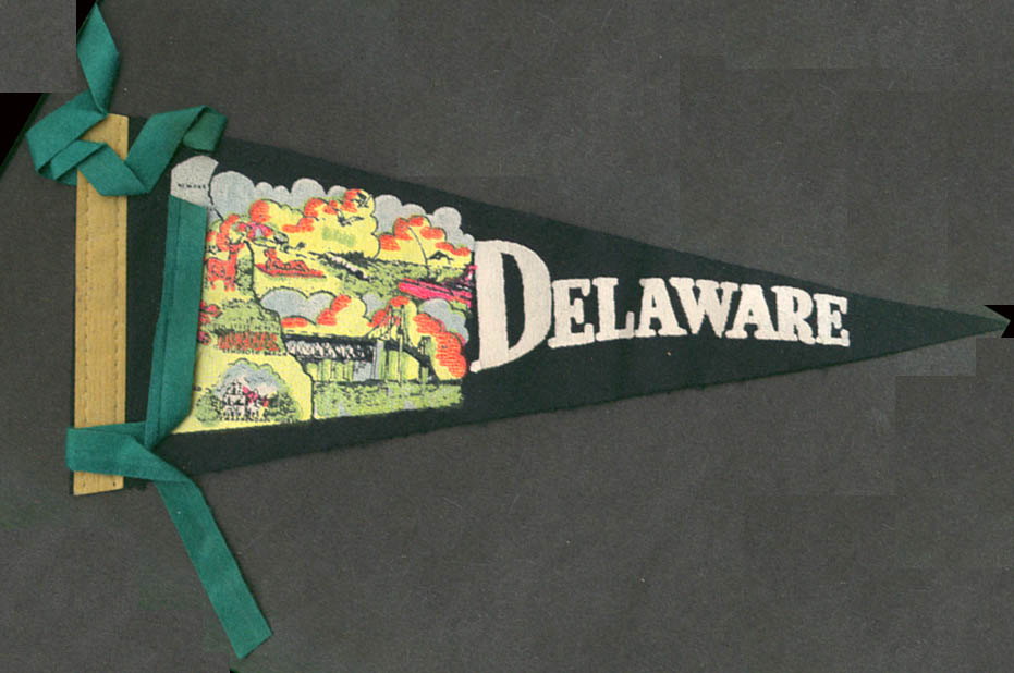 Delaware souvenir felt pennant ca 1950s Smyrna Newark Dover bridge beach +