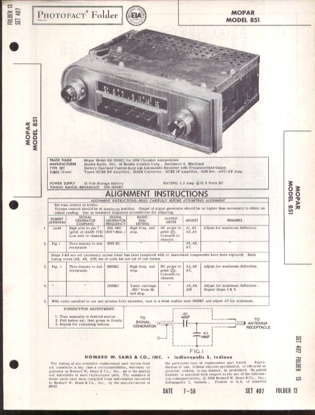 1958 Chrysler MoPar Model 851 Car Radio PhotoFact folder 7 1958