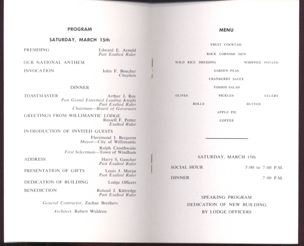 Image for Willimantic Elks Lodge 1311 Auditorium Dedication program 1958 CT