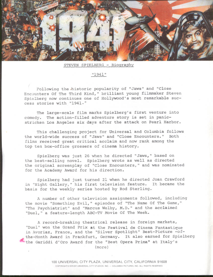 "Steven Spielberg 2-page Columbia biography news release for ""1941"" 1979"