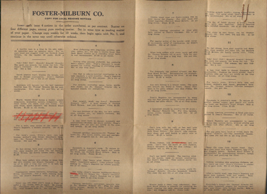 Image for Foster-Milburn Doan's Pills & Remedies reading notice list & cover letter 1937