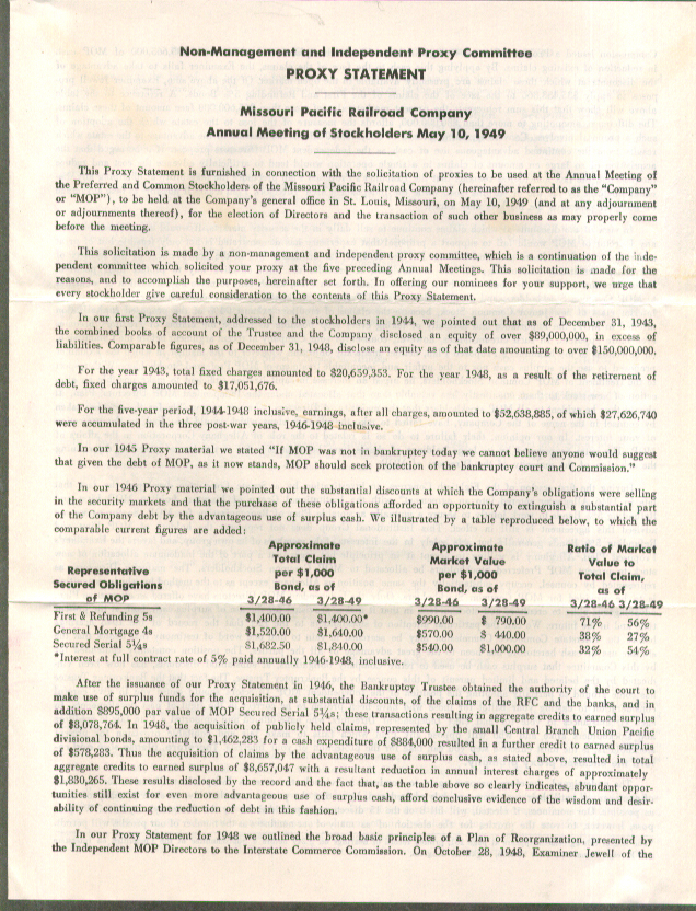 Image for Missouri Pacific Railroad Proxy Statement & documents 1949