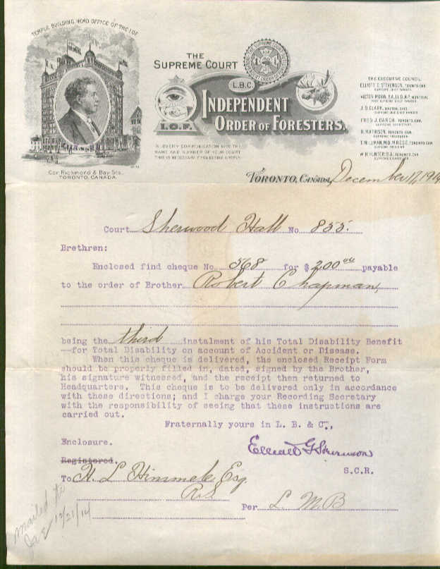Independent Order of Foresters Disability Benefit letter 1914