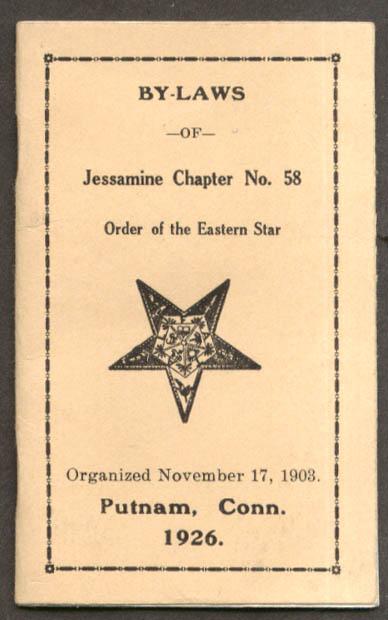 Image for Order Eastern Star Jessamine Chapter #58 Putnam CT By-Laws booklet 1926