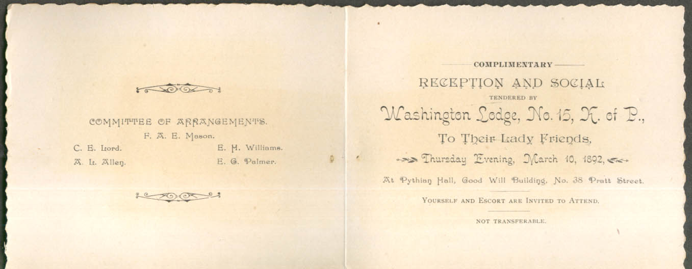 Image for Knights Pythias Washington Lodge Ladies' Reception Invitation Hartford CT 1892