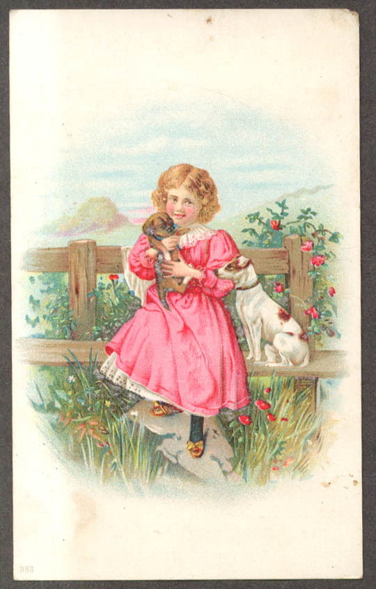 Harry Marx Footwear Harlem NY trade card girl with puppy & dog 1880s