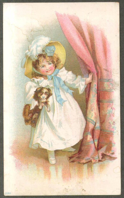 Image for Harry Marx Footwear Harlem NY trade card girl in yellow bonnet with dog 1880s