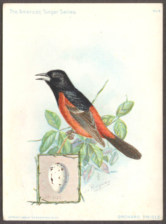 Image for Singer Sewing Machine American Singer Bird Series #5 Orchard Oriole 1899