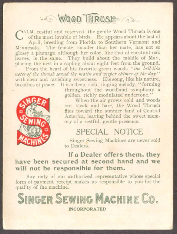 Singer Sewing Machine American Singer Bird Series #4 Wood Thrush 1899