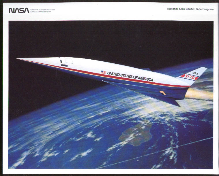 Image for NASA X-30 Aero-Space Place artist's conception color print 1992
