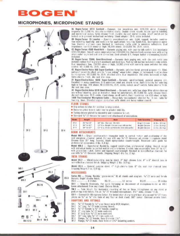 Image for Bogen Amplifier Equalizer FM-AM Receiver Microphone Speaker catalog 1982