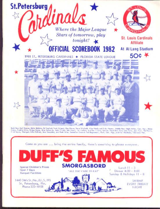 Image for St Petersburg Cardinals Florida State League Official Scorebook 1982