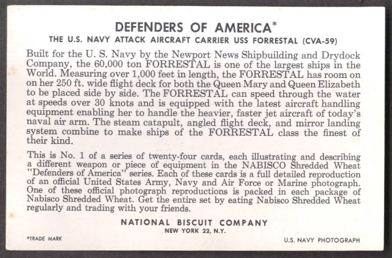 Nabisco Defenders of America card #1 CVA-66 Forrestal error back