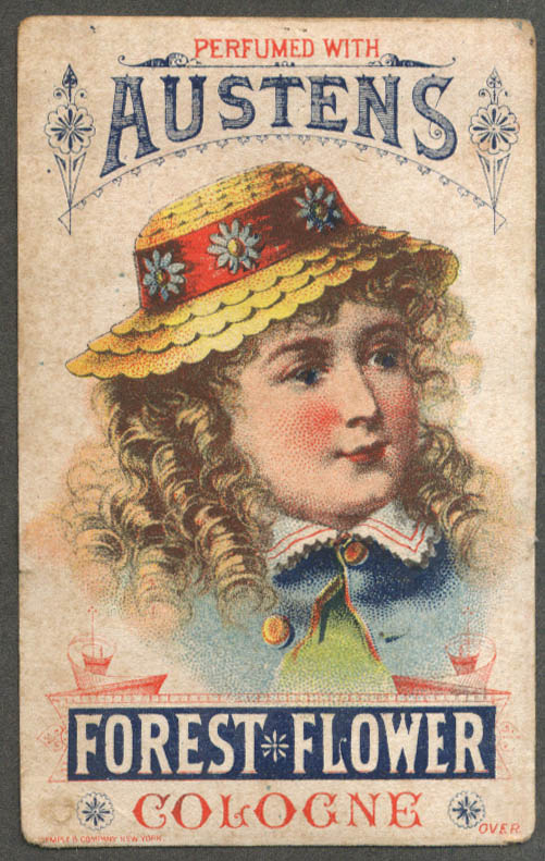 Austen's Forest Flower Cologne trade card Oswego NY girl straw hat