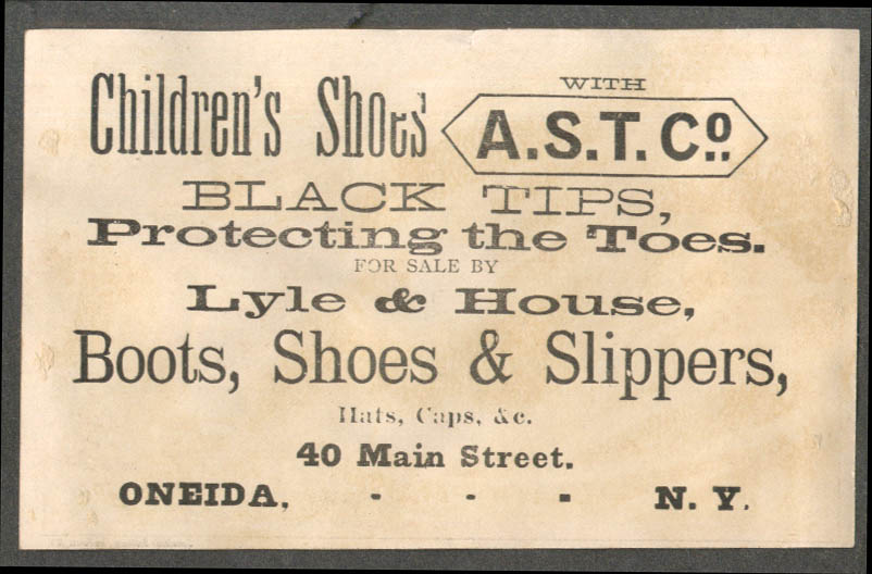 Image for American Shoe Tips reduce bills trade card cat & chickens Lyle & House Oneida NY