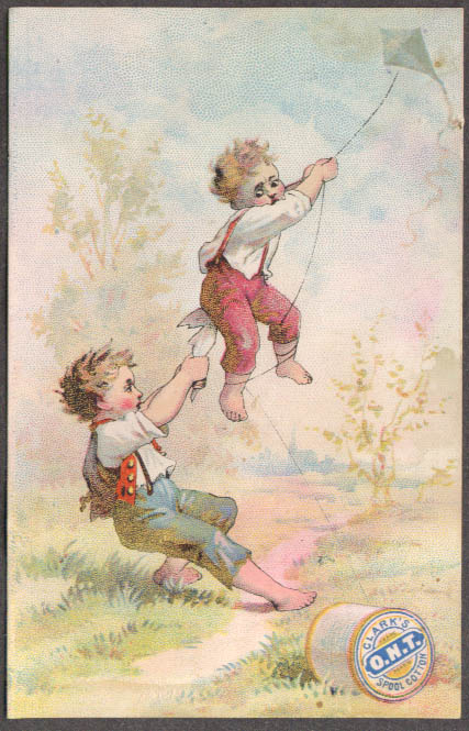 Image for Clark's O N T Spool Cotton Thread trade card kite carries boys UP