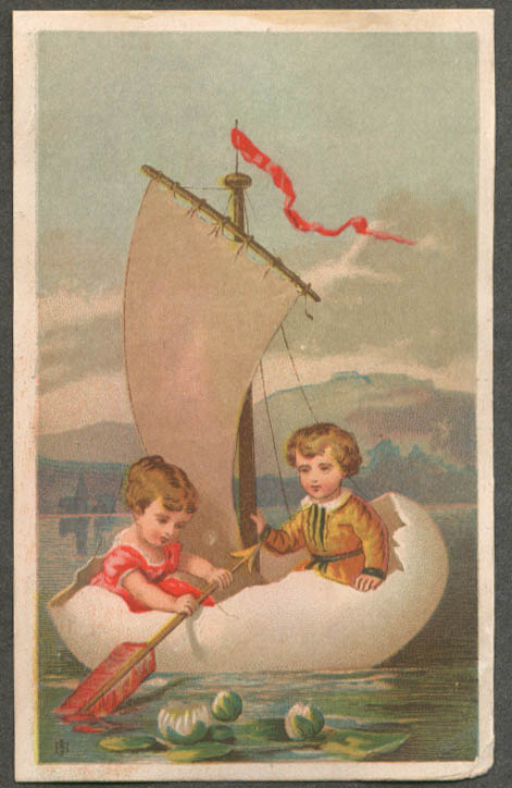 Image for Boy & girl in sailboat made of cracked egg trade card 1880s