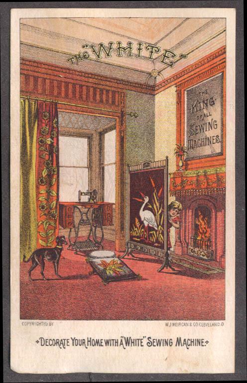 Image for White Sewing Machine trade card G D Rathbun Pianos Organs New Hartford NY 1880s