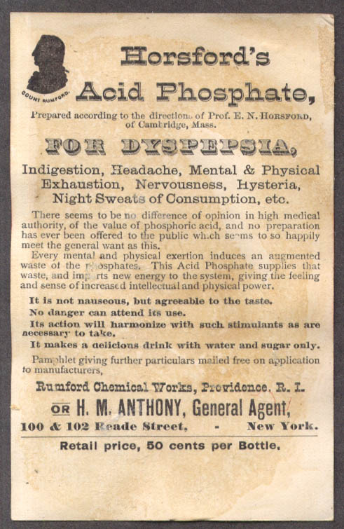 Image for Horsford's Acid Phosphate for Dyspepsia trade card Rumford RI baby 1880s