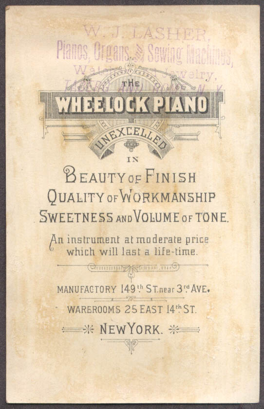 Image for Wheelock Piano Sweetest & Best trade card NYC cherubs roses vase 1880s