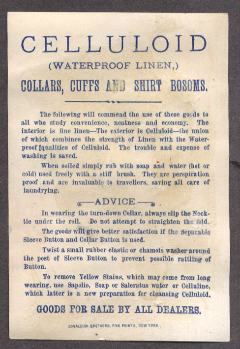 Image for Celluloid Waterproof Collars Cuffs & Shirt Bosoms trade card 1880s