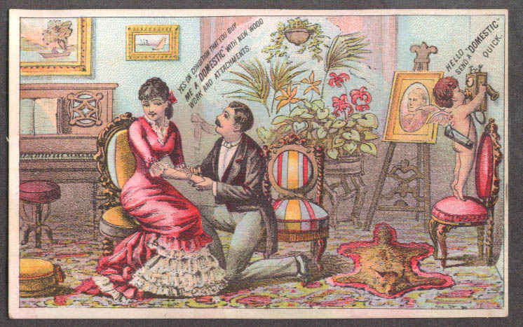Image for Domestic Sewing Machine trade card man proposes cherub phones Domestic 1880s