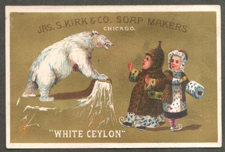 Image for J S Kirk Soap trade card White Ceylon polar bear vs skaters in fur 1880s