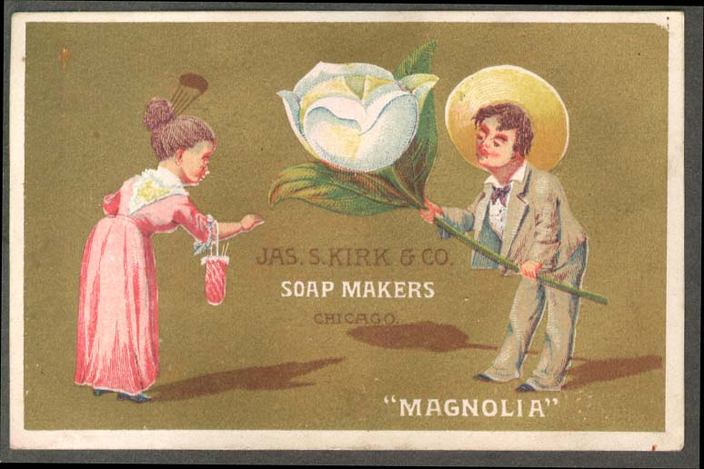 Image for J S Kirk Soap trade card Magnolia man gives huge white rose to lady 1880s