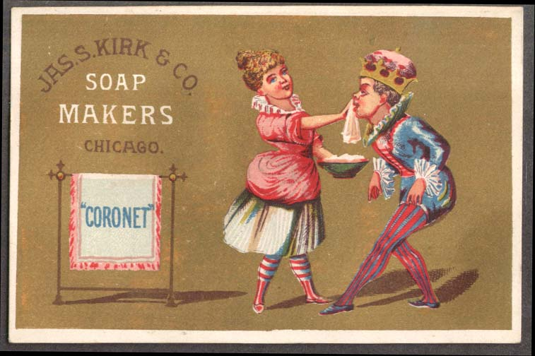 Image for J S Kirk Soap trade card Coronet lady washes the King's face 1880s