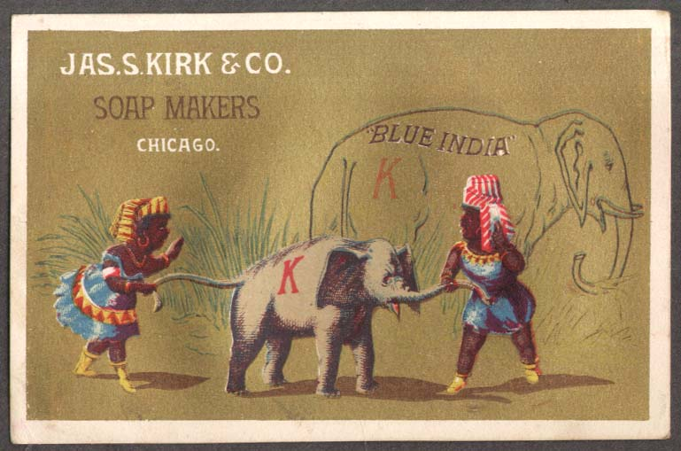 Image for J S Kirk Soap trade card Blue India Negroes young elephant by tail & trunk 1880s