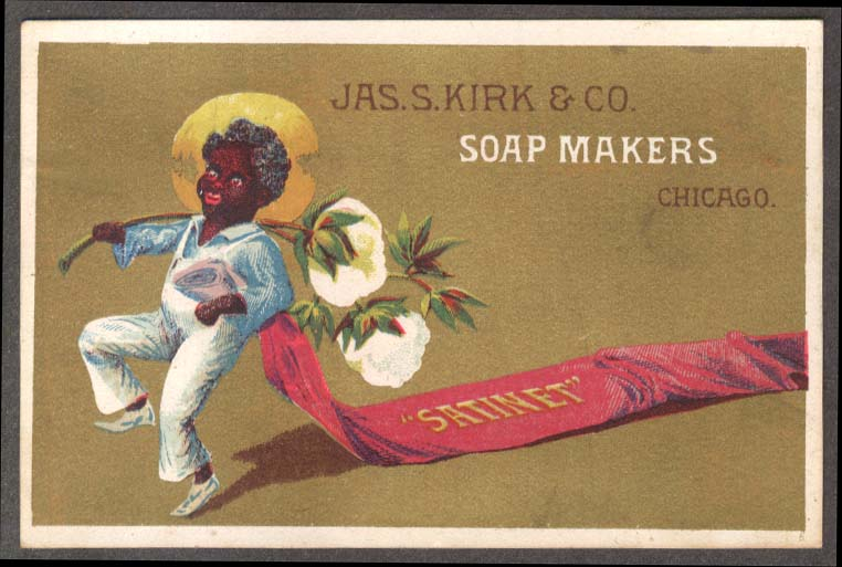 Image for J S Kirk Soap trade card Satinet Negro carries cotton trailing satin 1880s