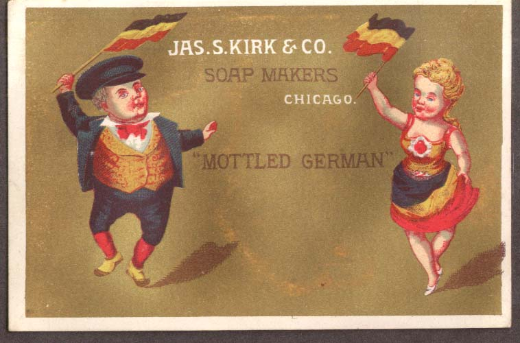 Image for J S Kirk Soap trade card Mottled German dancers with flags 1880s