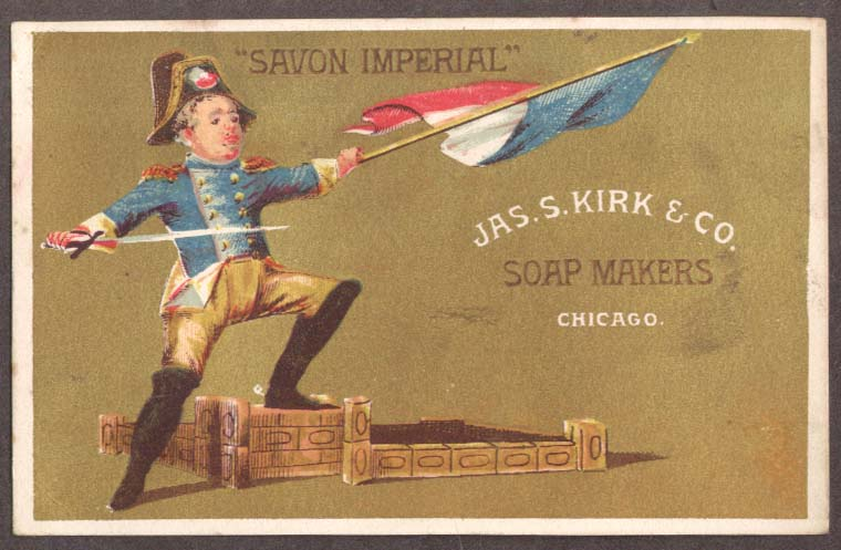Image for J S Kirk Soap trade card Savon Imperial Napoleon figure with French flag 1880s